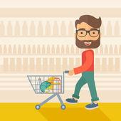 Male Shopper Pushing a Shopping Cart. — Stock Vector