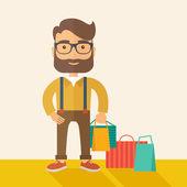 Man who go shopping. — Stock Vector