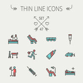 Medicine thin line icon set — Stock Vector