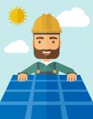 Man putting a solar panel on the roof. — Stock Vector