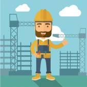 Man standing infront of construction crane tower. — Stock Vector