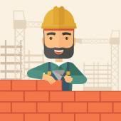 L'homme bâtisseur construit un mur de briques. — Vecteur