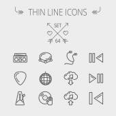 Music and entertainment thin line icon set — Stock Vector