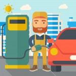 Gasoline boy filling up fuel. — Stock Vector #73473925