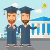Two men wearing graduation cap. — Stock Vector