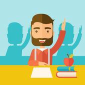 Estudante, levantando a mão. — Vetor de Stock