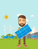 Man holding a solar panel. — Stock Vector