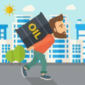 Businessman carrying barrel of oil. — Stock Vector
