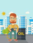 Businessman with oil can and pump. — Stock Vector