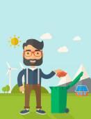 Man throwing paper in a garbage bin — Stock Vector