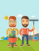 Two men with wheelbarrow and rake. — Stock Vector