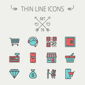 Business shopping thin line icon set — Stock Vector