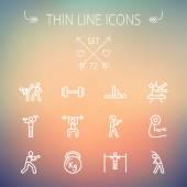Conjunto de iconos de delgada línea deportes — Vector de stock
