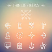 Sports thin line icon set — Stock Vector