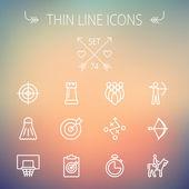 Sports thin line icon set — Stock Vector