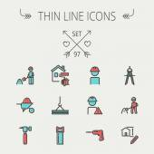 Construction thin line icon set — Stock Vector