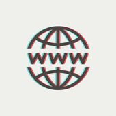 Globe with website design thin line icon — Stock Vector