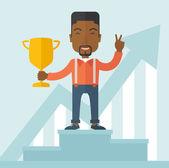 African businessman on winning podium — Stock Vector