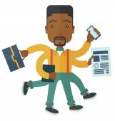 Black guy with multitasking job. — Stock Vector