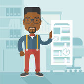 Black man happy standing inside his office. — Stock Vector