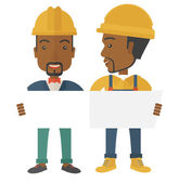 Two black architects wearing protection helmets looking at blueprint.  — Vector de stock