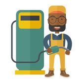 Gasoline boy with gas pump — Stock Vector