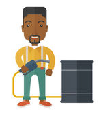 African Businessman with oil can and pump. — Stock Vector