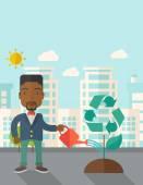 Άνθρωπος πότισμα ένα δέντρο της ανακύκλωσης. — Διανυσματικό Αρχείο