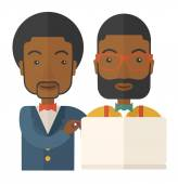 Two black Workers using laptop. — Stock Vector