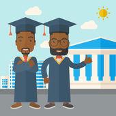 Two black men wearing graduation cap. — Stock Vector
