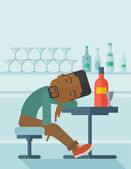 African Drunk man fall asleep in the pub. — Stock Vector