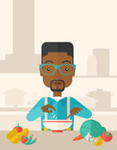 Young black guy is eating salad for lunch in the restaurant. — Stock Vector