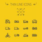 Transportation thin line icon set — Stock Vector