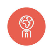 Humanos con icono de línea fina cabeza de globo — Vector de stock