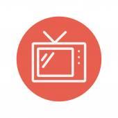 細い線のレトロなテレビ アイコン — ストックベクタ