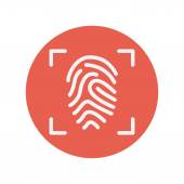 Fingerprint scanning thin line icon — Stock Vector
