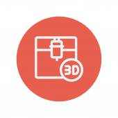 Three D printing machine thin line icon — Stock Vector