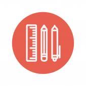 Icono de la delgada línea de útiles escolares — Vector de stock