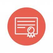 Icono de delgada línea certificado — Vector de stock