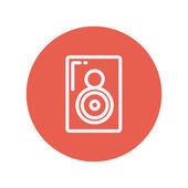 Two way audio speaker thin line icon — Stock Vector