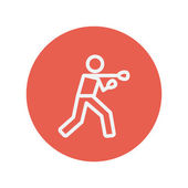 Boxing man with punch thin line icon — 图库矢量图片