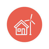House with windmill thin line icon — Stock Vector
