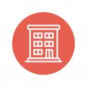 Ícone de linha fina de edifício residencial — Vetor de Stock