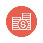 Stack of dollar coin thin line icon — Stock Vector