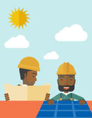 African man putting a solar panel on the roof. — Stock Vector