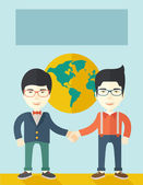 Two chinese guys happily handshaking. — Stock Vector