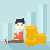 Successful chinese businessman sitting with a pile of gold. — Vector de stock