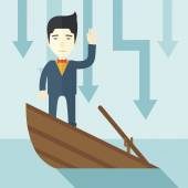 Failure chinese businessman standing on a sinking boat. — Stock Vector