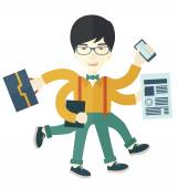 Chinese guy with multitasking job. — Stock Vector