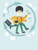 Chinese man with multitasking job — Stock Vector